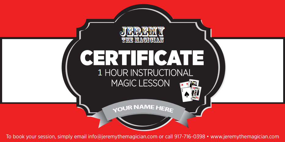 Magic Lesson Gift Certificate Jeremy The Magician